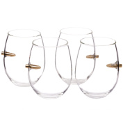 .308 Cal Real Bullet Stemless Wine Glass - Set of 4