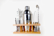 Taylor & Sons 9 Piece Stainless Steel Bartender Set with Wooden Base Kitchen Accessories Cocktail Bar tool Set