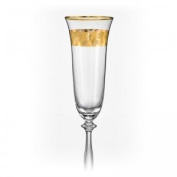 "Bohemia Crystal ""Angela"" Gold Rim Crystal Champagne Flutes, Set of 2, 190ml (6.4 ounces), Gold"