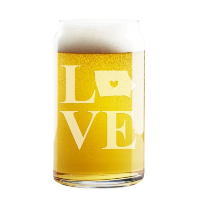 Love State Iowa Engraved 470ml Craft Beer Can Glass
