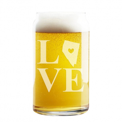 Love State Nevada Engraved 470ml Craft Beer Can Glass