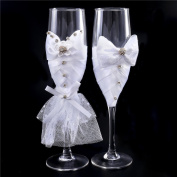 Wedding Champagne Toasting Flutes Glasses Set Wine Cups Pair Crystals Lace Bow Handcrafted Embellishments Elegant for Bride and Groom Shower Gift Party Supplies