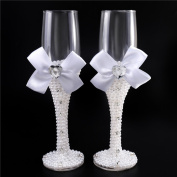 Pearl Wedding Glasses Set Champagne Toasting Flutes Wine Cups Pair Crystals Ribbons Handcrafted Embellishments Elegant for Bride and Groom Shower Gift