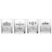 Lily's Home Cocktail Recipe Glass Set. 4 Old Fashioned Glasses with Cocktail Recipe Printed on the Glass. Bartending Glasses