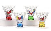 Romero Britto Short Martini Glass Set (4 Assorted Colours