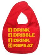 Dirty Fingers, Drink, Dribble, Drink, Repeat, Boy Girl Feeding Bib, Red