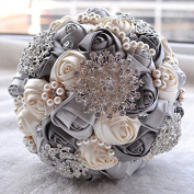 Abbie Home Advanced Customization Romantic Bride Wedding Holding Toss Bouquet Rose with Pearls and Rhinestone decorative brooches Accessories-Multi colour selection