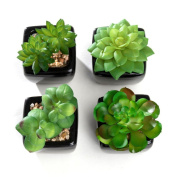 Nattol Modern Mini Artificial Succulent Plants Potted in Cube-Shape White Ceramic Pots for Home Decor, Set of 4