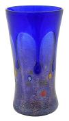 VASO LARGE GOCCIA Murano Glass Gold Leaf Murrine Vase Decor Venice Made Italy-Blue