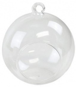 Just Artefacts Hanging Glass Terrarium Holders (7.6cm Diameter, Round w/Flat Base, Set of 6) - Round Hanging Glass Terrariums make for great Gardens, Weddings, Candle Holders & Stunning Home Décor