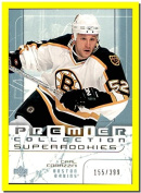 2003-04 UD Premier Collection #81 Carl Corazzini RC BOSTON BRUINS Rookie Serial #155/399