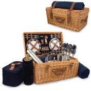 Picnic Time 'Windsor' English-Style Willow Picnic Basket with Deluxe Service for 4