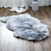 OJIA Deluxe Soft Faux Sheepskin Chair Cover Seat Pad Plain Shaggy Area Rugs For Bedroom Sofa Floor