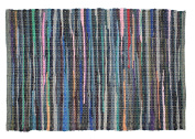 Cotton Craft - 2 Pack Hand Woven Reversible 100% Cotton Multi Colour Chindi Rag Rug - 20 x 32 - Rug is made from multi colour re-cycled yarns, actual product may vary in colour from the image shown