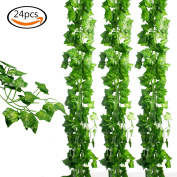 JPSOR 24pcs (48m) Artificial Greenery Fake Ivy Leaves Garland Hanging for Wedding Party Garden Wall Decoration
