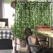 12 Pack (Each 210cm ) Artificial Greenery Fake Hanging Vine Plants Leaf Garland Hanging for Wedding Party Garden Outdoor Greenery Office Wall Decoration