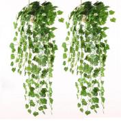 XHSP 2pcs Artificial Green Ivy Vine Potato Leaves Garland Plants Vine Fake Foliage Home Decor,90cm