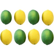 Buytra 8 Pack Artificial Fake Lemons Limes Fruit for Vase Filler Home Kitchen Party Decoration, Yellow and Green
