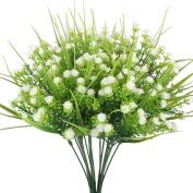 Artificial Plants, Hogado 4pcs Faux Baby's Breath Fake Gypsophila Shrubs Simulation Greenery Bushes Wedding Centrepieces Table Floral Arrangement Bouquet Filler White