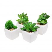 Pack of 4 Small Cube-Shaped White Ceramic Planter Pots with 4 different Artificial Succulent Plants for Home Decoration in Green colour