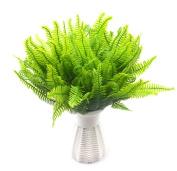 Lanldc 4 Bundles Boston Fern with Wicker Decorative Silk Plant for Home Wedding Office Party Decoration
