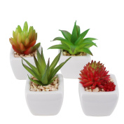 Pack of 4 Small Cube-Shaped White Ceramic Planter Pots with 4 different Artificial Succulent Plants for Home Decoration