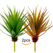 Supla 2pcs Faux Succulents Yucca Artificial Aloe Vera Succulent Plant Picks Assorted Faux Air Plants, green and autumn green 20cm Tall x 18cm Bloom