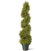 National Tree 120cm Upright Juniper Slim Spiral Tree with Artificial Natural Trunk in Green Round Plastic Pot