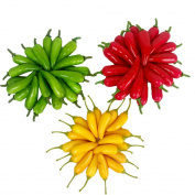 60Pcs Artificial Little Chilli Simulation Pepper Mini Three-Colour (Red + Yellow + Green) Small Hot Pepper Lifelike Fake Vegetable Home Decor Each Colour 20Pcs