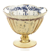 Mercury Glass Compote w/ Pedestal Base, 14cm . tall, Scalloped, Gold