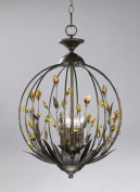 Cyan Designs 01193 Chandelier with Amber Crystal Shades, Autumn Dusk with Amber Finish