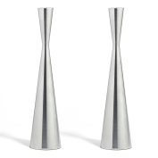 2 Silver Finished Taper Candle Holders, 27cm , Metal, Hourglass Shape, Fits ALL Standard Candlesticks