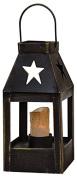 CWI Gifts Star Cutout Mini Lantern in Black Metal, 13cm x 6.4cm