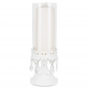 Amalfi Decor Victoria White Metal Candle Holder with Clear Glass Hurricane Vase, Crystal Draped Pillar Stand Home Accent