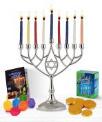Zion Judaica Hanukkah Value Kit - Full Size Solid Menorah 45 Coloured Candles Complete Hanukkah Guide Booklet 6 Coloured Dreidels Sack of Milk Belgian Hanukkah Coins Gelt - All Essentials in 1 Box