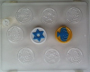Hanukah gelt w/ raised star & menorah designs J015 Jewish Chocolate Candy Mould