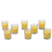 Hosley ® Premium, Highly Scented Set of 8, Citronella, Rosemary, Sage, Lemon Grass blend, Essential Oils, Votive Candles in Clear Glass. Burns upto 12 hours each. Great Gift for Home, Patio, Gardens
