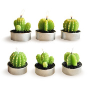 Cactus Candles, Luvu Mini Cute Tealight Candles for Home, Decor, Gift, Birthday, Party 6 Pcs