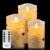 Vinkor Flameless Candles 13cm 15cm 18cm Birch Bark Effect Dripless Real Wax Pillars LED Candles with 10-key Remote Control - 2/4/6/8 Hours Timer
