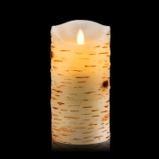 Vinkor Flameless Candles 18cm Birch Bark Effect Dripless Real Wax Pillars LED Candles with 10-key Remote Control - 2/4/6/8 Hours Timer