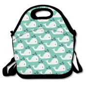 Cute Whale Of A Tail Waterproof Lunch Tote Bag Insulated Reusable Picnic Lunch Boxes For Men Women Kids