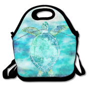 Blue Turtle Turtle Art Ocean Turtle Swiming Waterproof Lunch Tote Bag Insulated Reusable Picnic Lunch Boxes For Men Women Kids