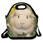 Pansy Guinea Pigs Flowers Waterproof Lunch Tote Bag Insulated Reusable Picnic Lunch Boxes For Men Women Kids