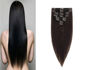 FRISTLIKE 60cm Double Weft 160g Great 7A 100% Clip in Remy Human Hair extensions Full Head 8 Piece 18 Clips