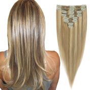 FRISTLIKE Double Weft 160g 100% Clip in Remy Human Hair Extensions Full Head 8 Piece 18 Clips£¨60cm £¬ Ash Brown Mix Bleach Blonde)