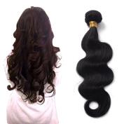 "FRISTLIKE 12""14""16"" Jet Black Straight and Body Wave Virgin Brazilian Huamn Hair Wave Extensions Unprocessed, 3 Pack Bundle"