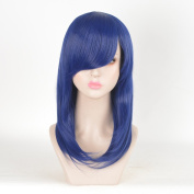 SiYi Purple Straight Synthetic Wig with Bangs Should Length Pastel Wig for Women