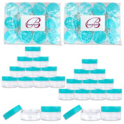 Beauticom 20G/20ML Reusable Clear Round Sample Container Jars with Teal Lids for Lotion, Creams, Toners, Lip Balms, Cosmetic, Makeup - BPA Free (24 Pieces