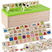 Wooden Classification Box with Cover 80 objects from 8 Categories To Exercise Kids' Hand Eye Coordination Sorting Box And A Good Parent-child Toy