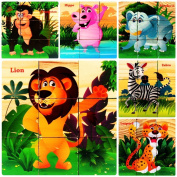 HLJgift Wooden Wild Animals Cube Block Puzzle for Kids, Toddlers, Preschool Age | 6 Barnyard Puzzles in One | Educational Toy . Old & Up